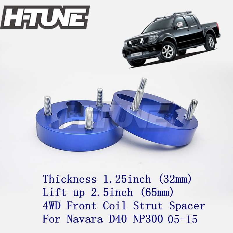 H-TUNE 4x4 Accesorios 32mm Front Coil Strut Shock Spacer Lift Kit for Navara D40 NP300 4WD 05-15 h tune 4x4 accesorios 1inch suspension lift kits front coil strut shock spacer for d max 2007 2010