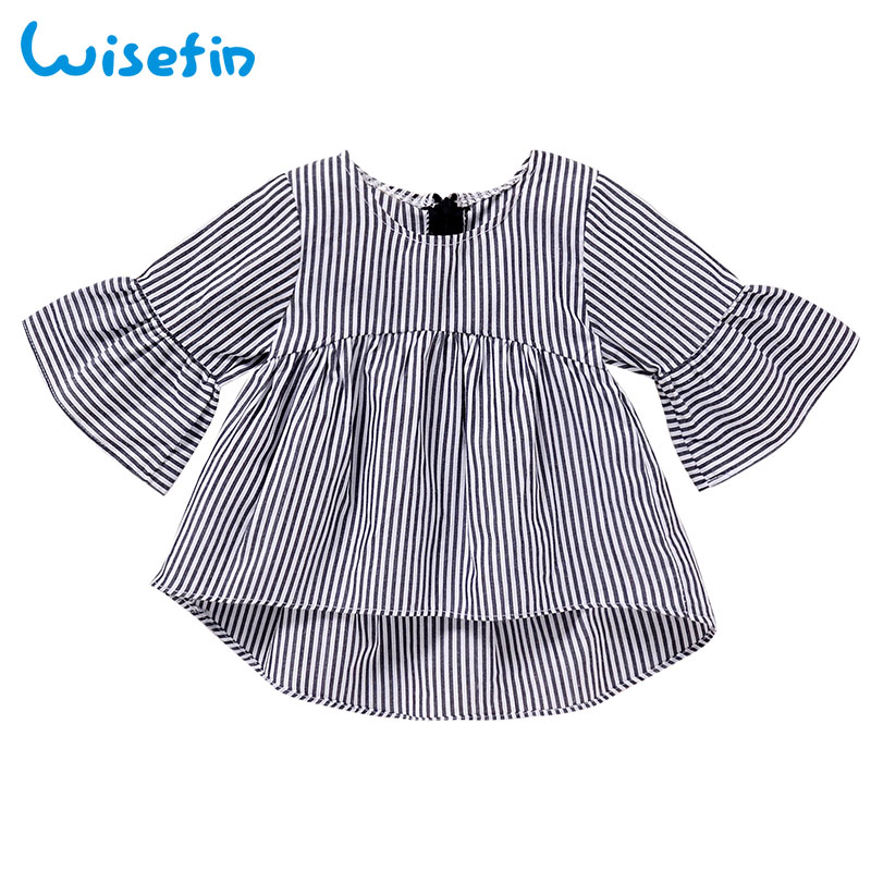 Wisefin Stripe Baby Clothes 2018 Summer Newborn Baby Girl Dresses Flare Sleeve Toddler Dresses Autumn Clothing Dresses 0-18 M