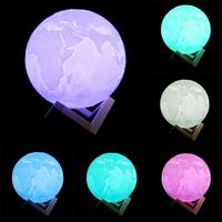 3D Print Moon Lamp 2 Colors Change Touch Switch Bedroom Bookcase Usb Led Night Light Home