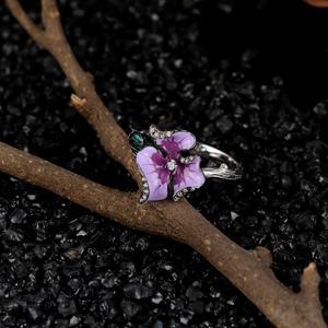 Image 5 - SANTUZZA srebrny pierścionek dla kobiet 925 srebro elegancki fioletowym kwiatem akcesoria ślubne biżuteria Handmade emalia
