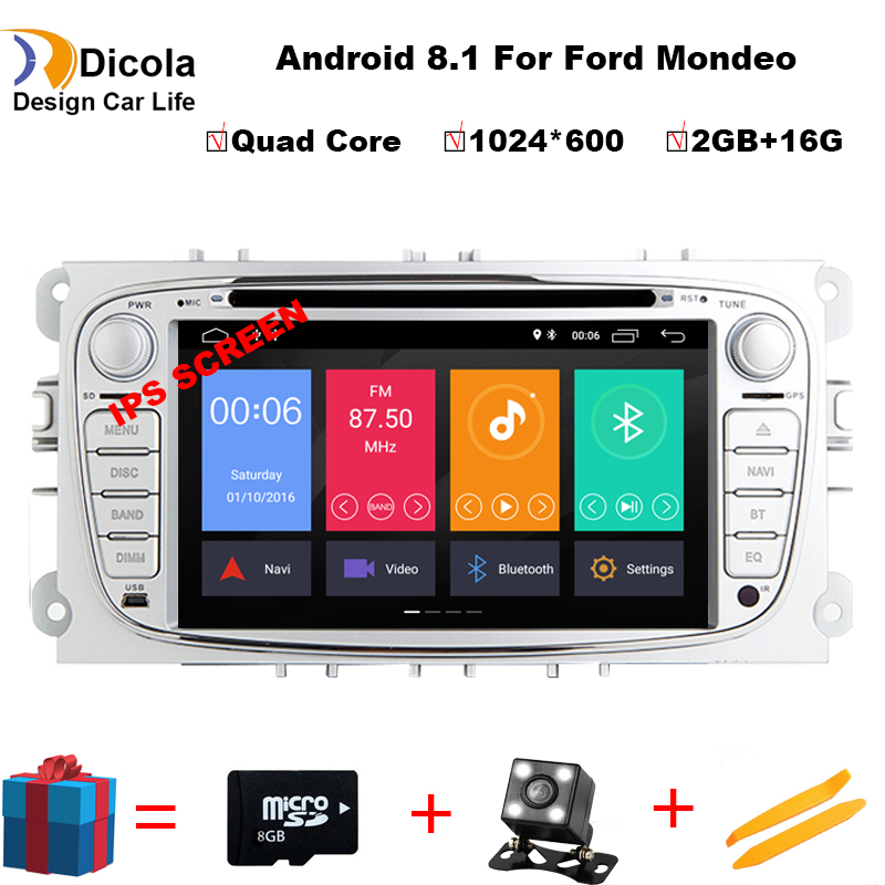 2 Din 7 IPS Android 8.1 Quad Core Car DVD Player DAB+WiFi 4G Canbus Online Maps GPS Navigator for Ford Focus II Mondeo S Max