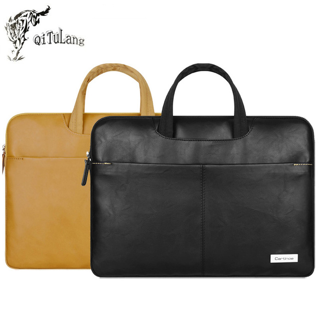 Cartinoe Business Portable Pu Leather Laptop Briefcase Handbag Carry Sleeve Bag Case for 13.3 14 15.4 inch Notebook Ultrabook