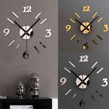 Romantic DIY Wall Clock 3D Mirror Surface Sticker Home Office Decor Clock & For My Warm Home orologio da parete Smile