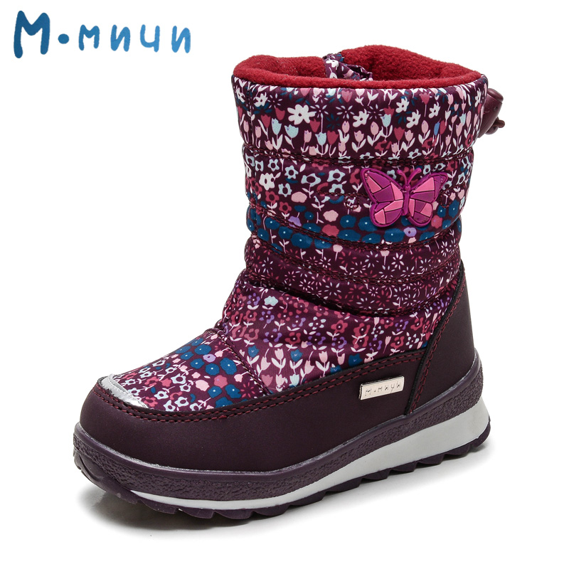 MMNUN 2017 New Winter Shoes for Children Floral Big Kids Boots Winter Boots for Girls Warm Children Winter Boots Snowshoes