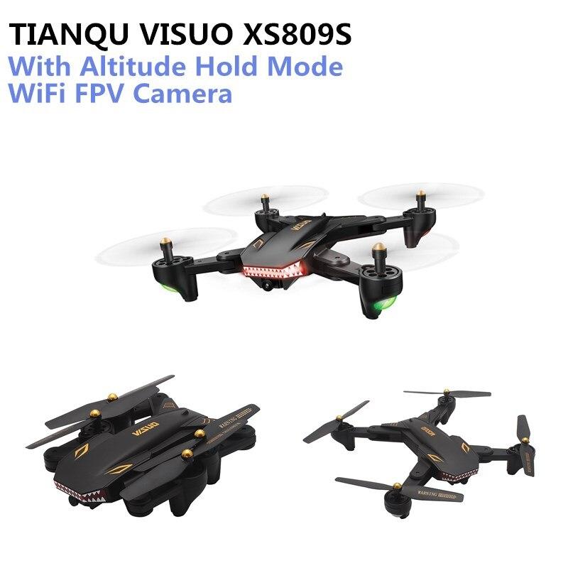 TIANQU VISUO XS809S Kamera Drone WiFi FPV Kamera MINI RC Höhe Halten Modus RC Drone Quadcopter Vs Eachine E58