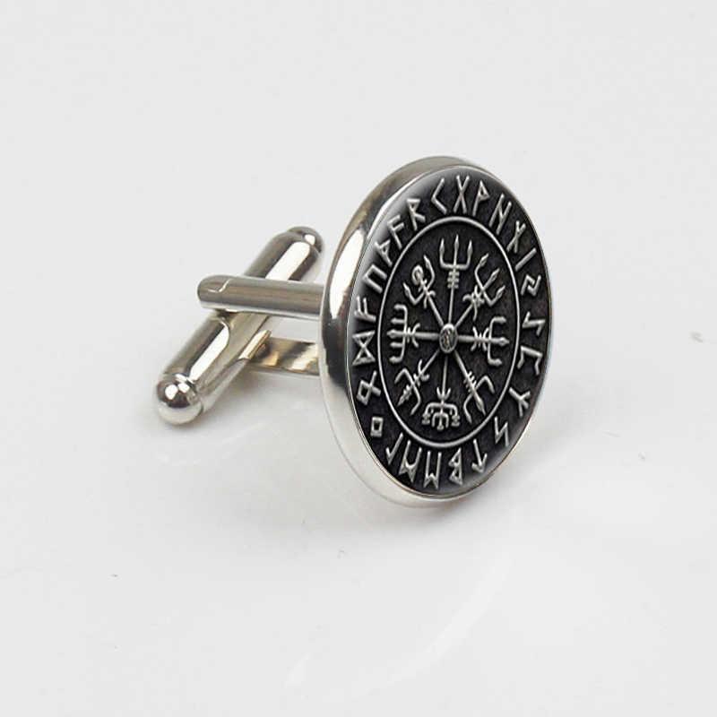 ZBOZWEI Steampunk İskandinav Viking çapraz Rune daire takı cam Cabochon kol düğmeleri cam kubbe takı kol düğmeleri Womens adam