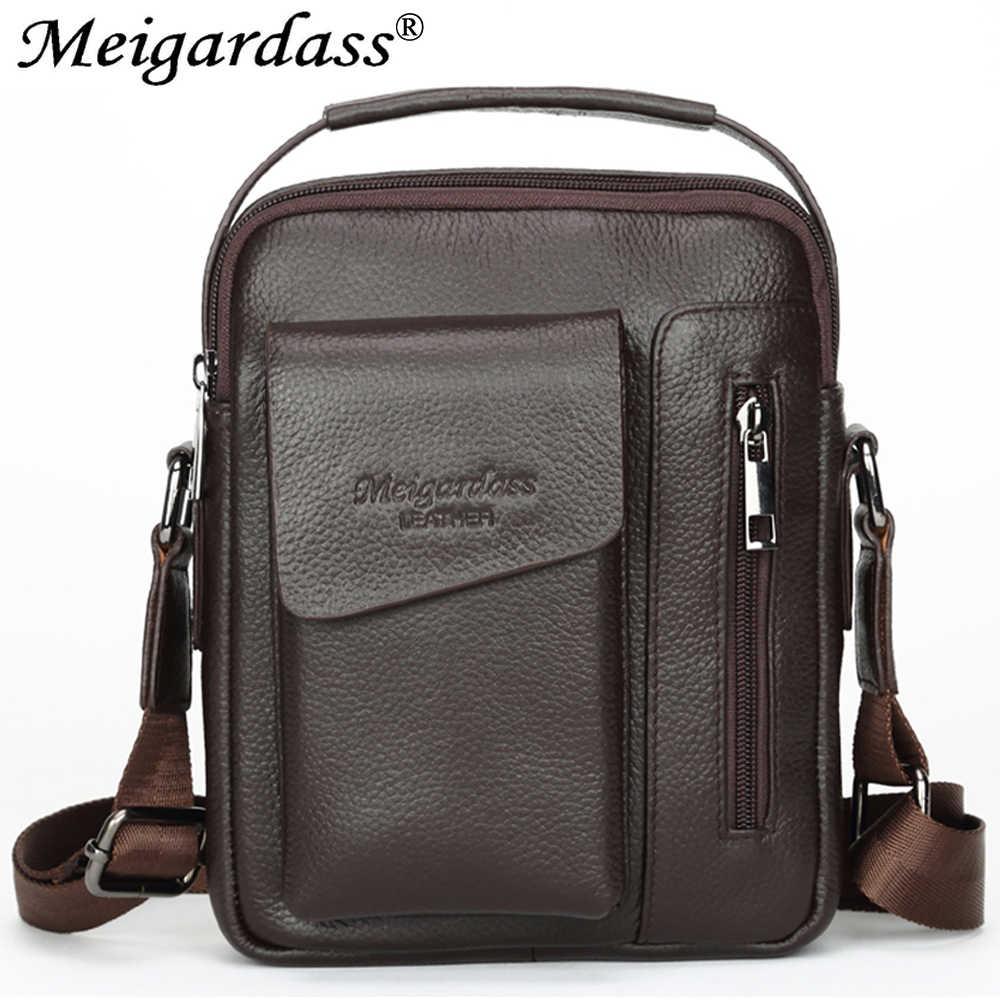 bcd718e60f56 MEIGARDASS Genuine Leather Shoulder Bag Men Messenger Bag Business iPad Handbags  male Travel Crossbody Bags Tote