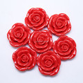 Free Shipping 50Pcs/Lot Red 40MM Large Rose Resin Flower Beads With Hole For Kid Girl Chunky Necklace Jewelry
