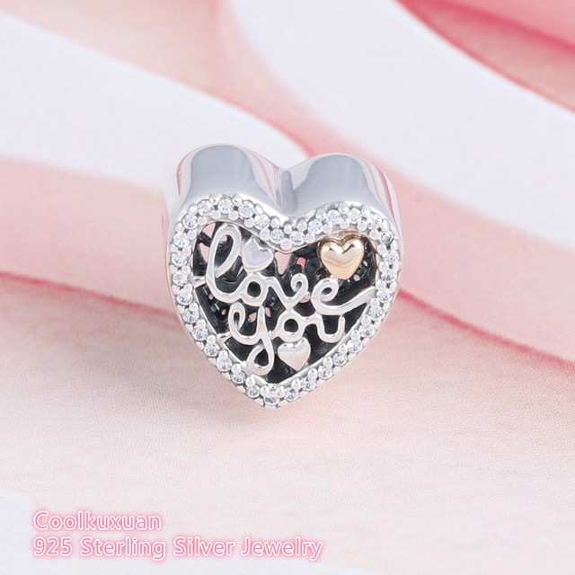 469ba1a56 Original 925 Sterling Silver Love You Script Charms Two Tone Heat CZ Stone Beads  Fits Pandora bracelets Valentine's Day Gift