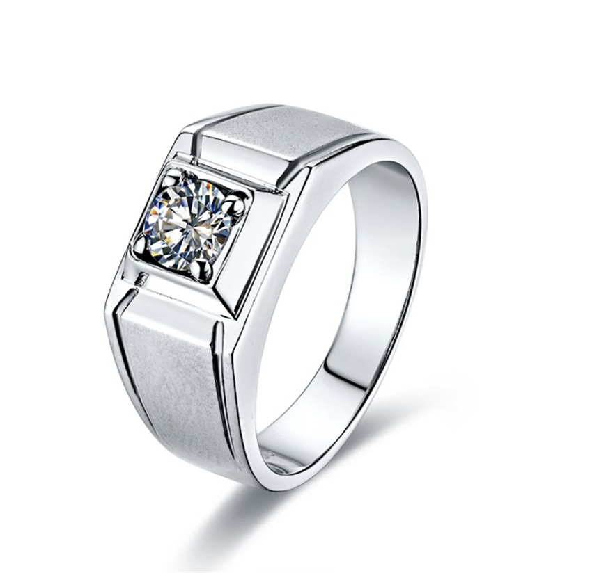 CHARLES & COLVARD 0.45Ct G-H Moissanites Male Ring Solid 925 Sterling Silver Ring White Gold Color Wedding Male Jewelry
