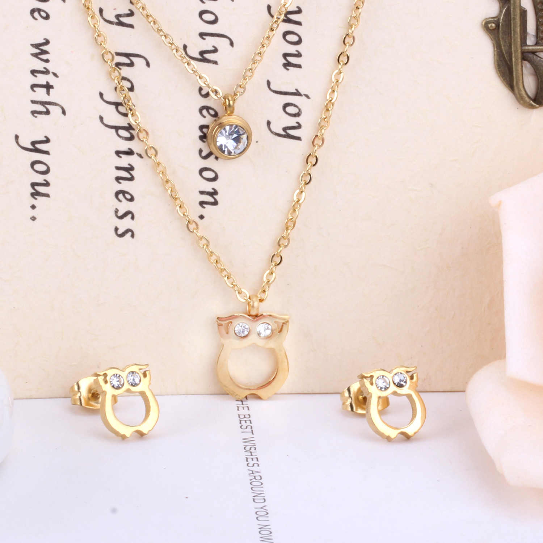 Роскошный комплект ювелирных изделий в африканском стиле с изображением совы нового дизайна, Двойная Цепочка, ожерелье, серьги, ювелирные наборы из Дубаи