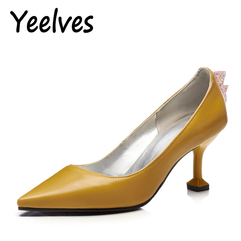 Yeelves Women New Fashion Thin High Heels Pointed toe Pumps Heeled Court shoes Yellow or Black for Ladies OL Girl Party Wedding yeelves new women fashion thin high heels pumps yellow or black heels court shoes pumps for ladies girl party plus size bowtie