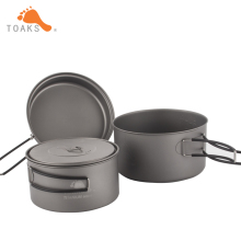 TOAKS Cookware Set Portable Titanium Cookware Three-piece Outdoor Camping Hiking Pots 1300ml+900ml Frying Pan