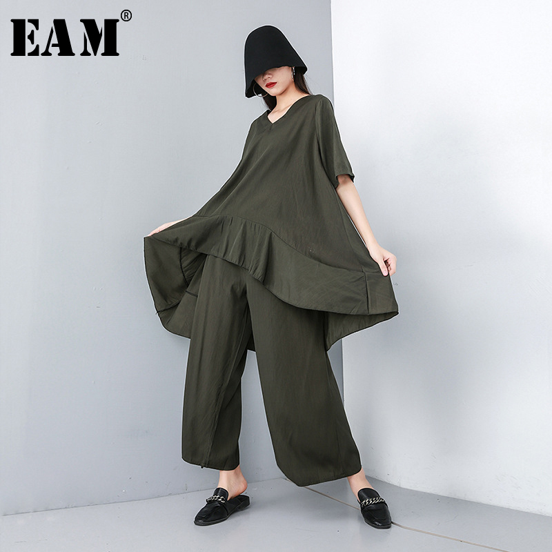 [EAM] 2020 New Spring Autumn V-Neck Short Sleeve Big Size Black Loose Wide Leg Pants Two Piece Suit Women Fashion Tide JT610