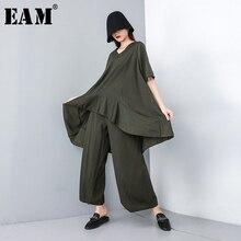 [EAM] 2020 חדש אביב סתיו V צוואר קצר שרוול גדול גודל שחור רופף רחב רגל מכנסיים שתי חליפת חתיכה נשים אופנה גאות JT610