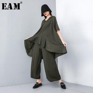 Image 1 - Женский костюм из двух предметов EAM, черный свободный костюм с V образным вырезом, коротким рукавом и широкими штанинами, большие размеры, весна осень 2020