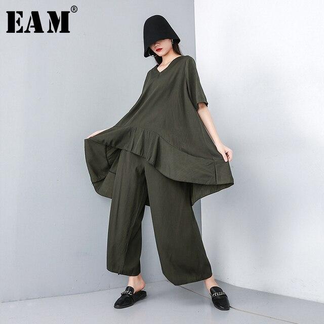Женский костюм из двух предметов EAM, черный свободный костюм с V образным вырезом, коротким рукавом и широкими штанинами, большие размеры, весна осень 2020