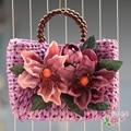 High Quality New Handmade Limited Edition Straw Purple Retro Bag Vacation Vacation Camera Handbag Maldives Holiday Large Flower