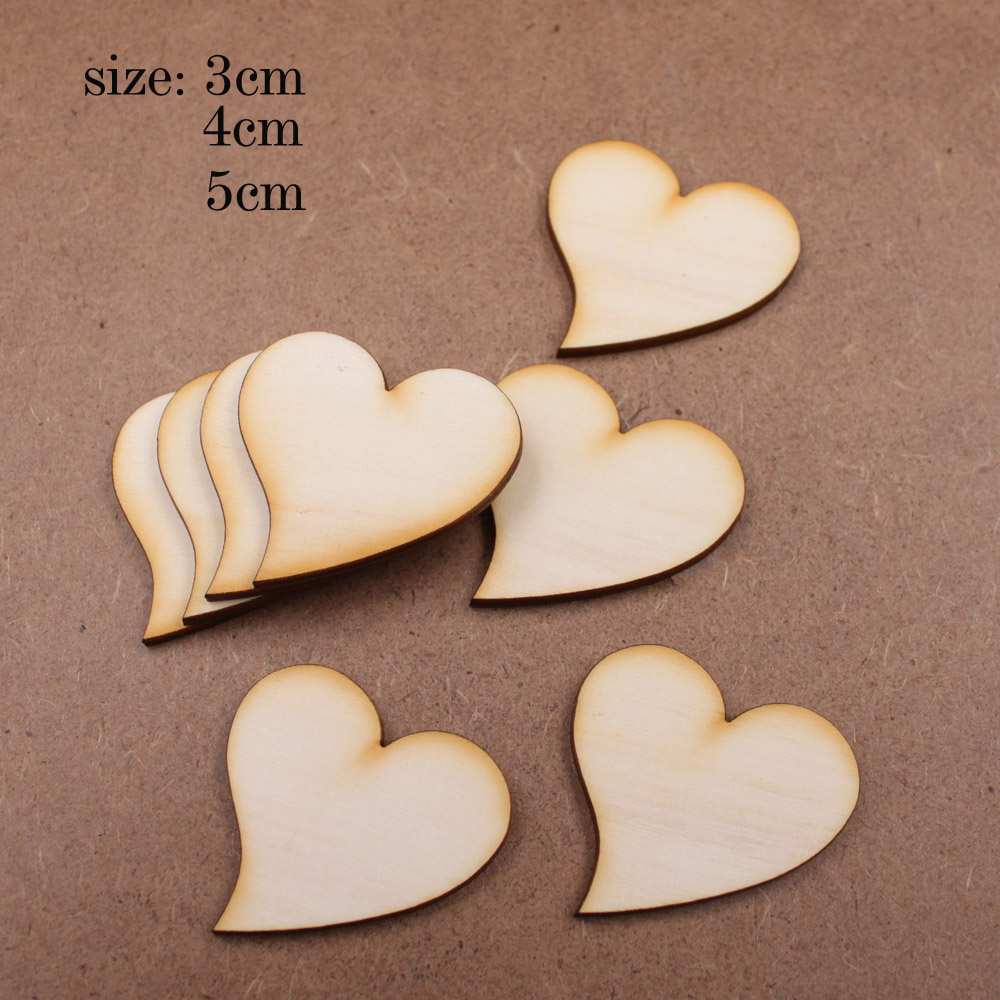 Unfinished wood craft products - Simple Diy 100pcs Wood Heart Love Blank Unfinished Natural Crafts Supplies Wedding Ornaments Painted Varnished Lovely