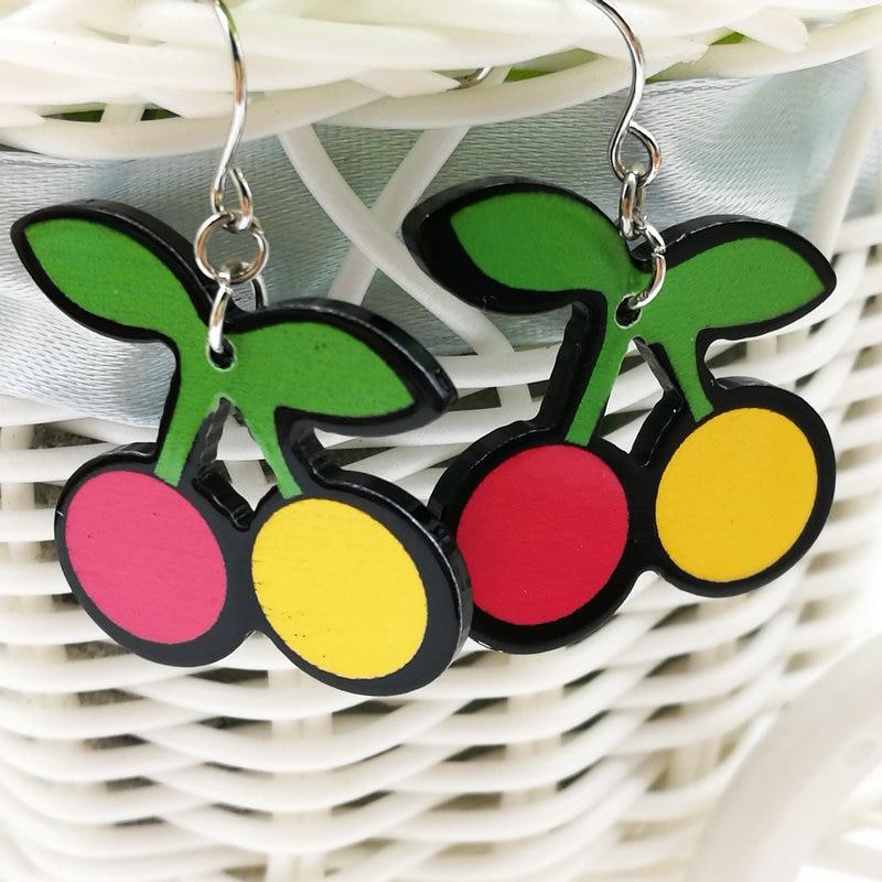 3 пары из Бесплатная доставка Мода yakeli вишневой Серьги Зеленый, мэй красный и желтый 27*25 мм