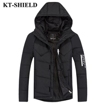 Winter Jackets Coats For Men 2016 New Slim Hooded Down Cotton Padded Coats Parkas Thick Black