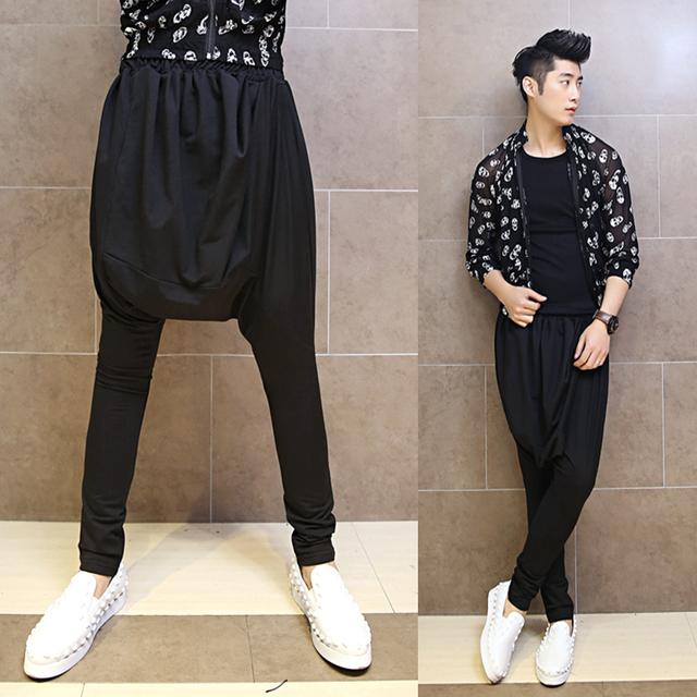 Preto cinza 2017 calças casuais masculinos harem pants traje dos homens calças baggies calças elásticas designer Original para os homens M L XL