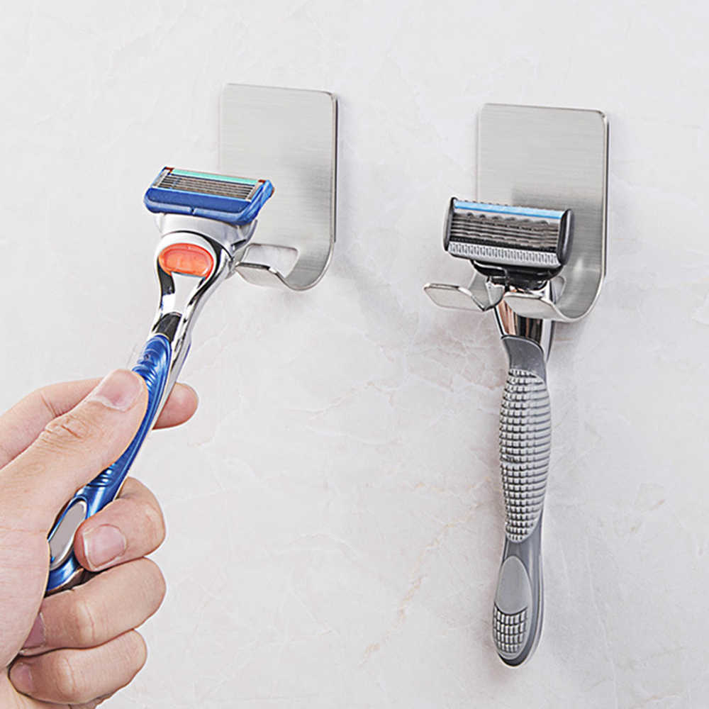 New 1Pc Stainless Steel Shaver Toothbrush Holder Washroom Wall Cup Hook Razor Bathroom Useful