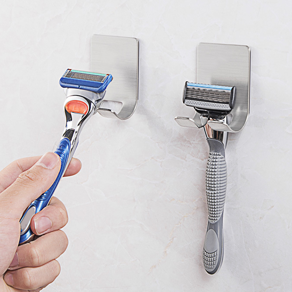 New 1Pc Stainless Steel Shaver Toothbrush Holder Washroom Wall Cup Hook Razor Bathroom Useful image