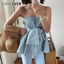 CHICEVER Summer Striped Korean Shirt For Women Slash Neck Off Shoulder Backless Bow Slim Blouse Female Fashion New 2019(China)
