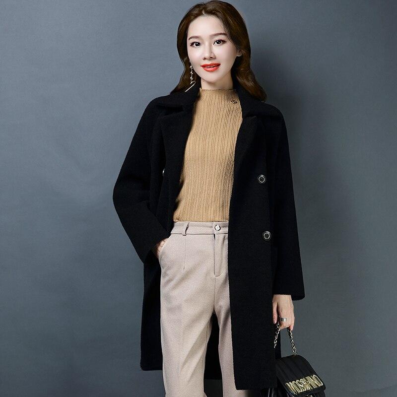Manteau Color À Double Au Casual Solide Couleur Femmes Outerware apricot Marque Épaissir Début New 2019 Lâche Revers Femelle Printemps Noir Du Boutonnage Chaud 4q6gOdWBOc