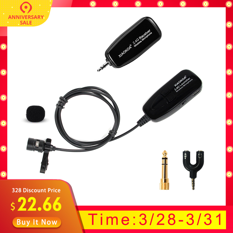 3aea71ee23f 2.4G lavalier 40-50m Wireless Microphone Headset Handheld for Voice  Amplifier phone for recording
