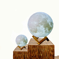 Rechargeable 3D Print Moon Lamp Round Shape Atmosphere Occasion 3 Colors Table Lamp Bedroom Decoration Desk