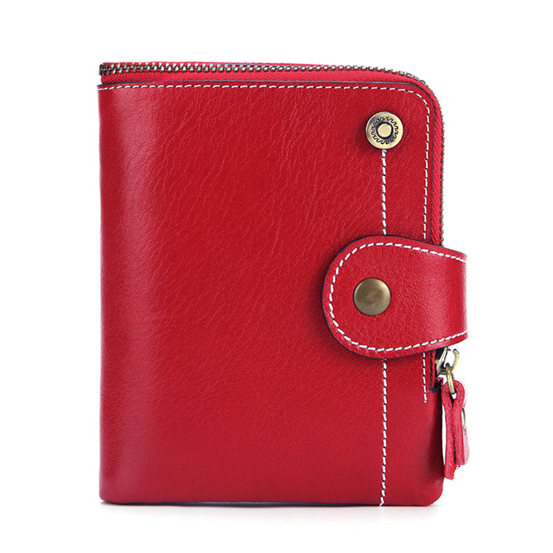 AOEO Women Purse Elegant With Round Zipper And Hasp Genuine Leather Ladies Wallet Good Quality Womens Wallets And Purses Female in Wallets from Luggage Bags
