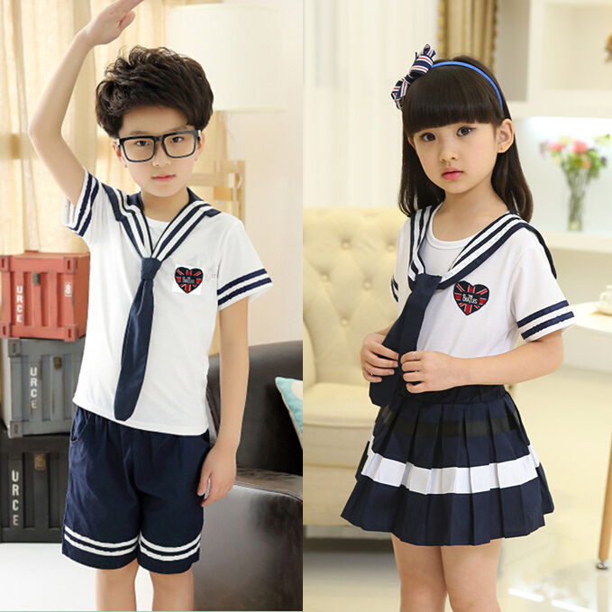 31674b1c533d 2017 new summer girls boys navy style school clothing set 2-12 year kids  children campus wear t-shirt+ shorts skirt clothes 460