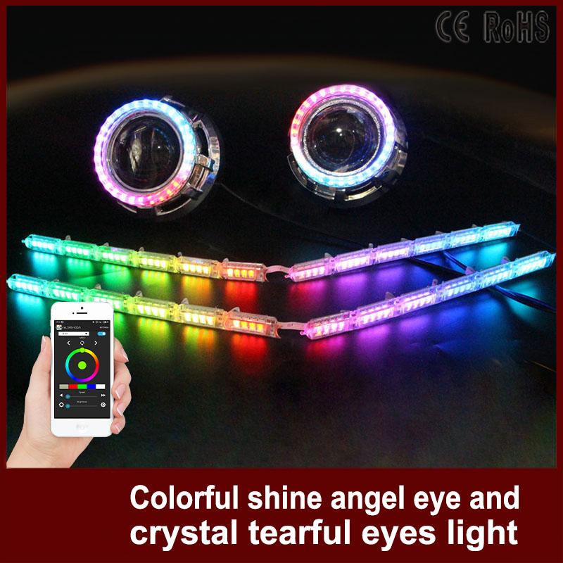 Tcart Car Headlight RGB Angel Eyes Auto APP DRL Halo Ring Crystal Angel Tear Eye Car Motorcycle With Lampshades For Audi A3 8p