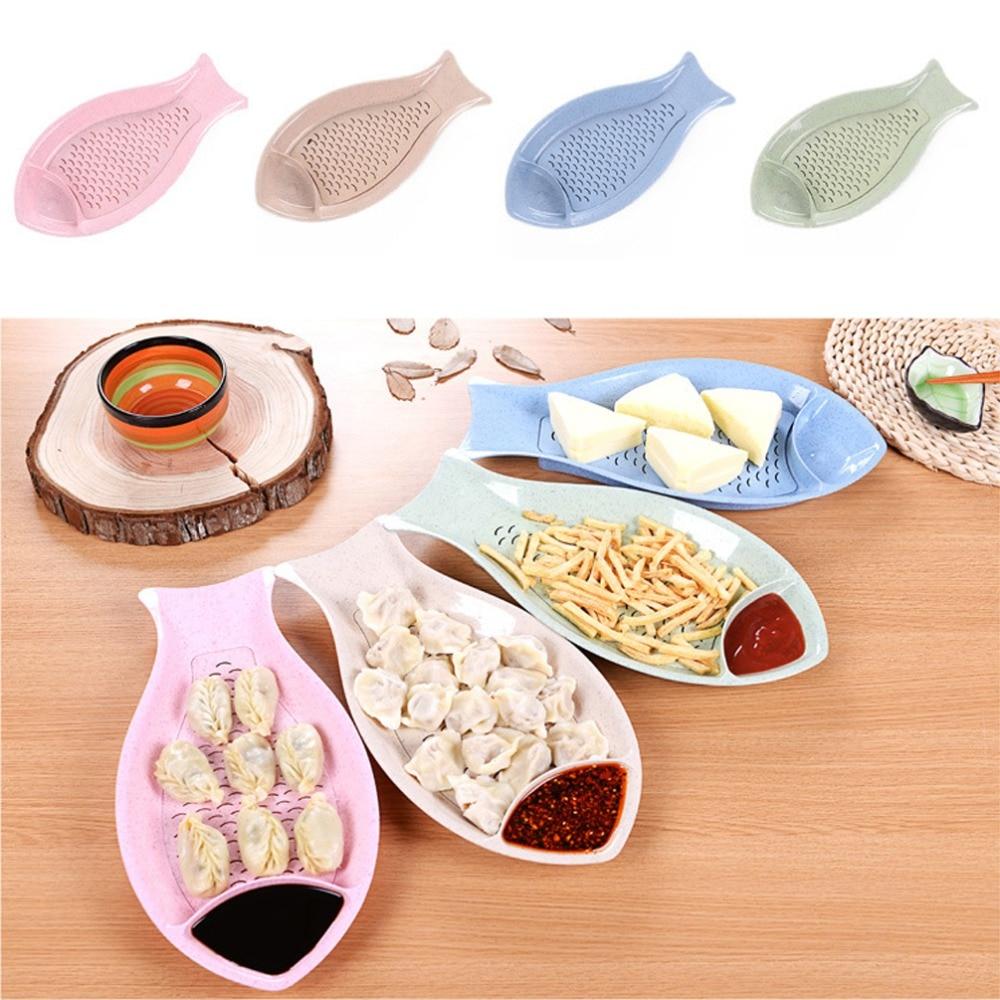 Creative Fish Shaped Doublelayer Dumpling Dish Sushi Set Tool Plastic Food  Fruit Drain Tray