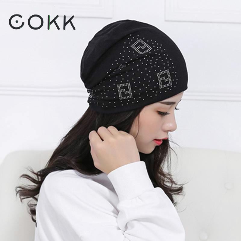 COKK Hot Autumn Winter Hat Women Men Rhinestone Bonnet Cap Casual Beanies For Women Hip Hop Skullies Male Cap Hat Female Gorros комплект офисной мебели дэфо берлин офис к1