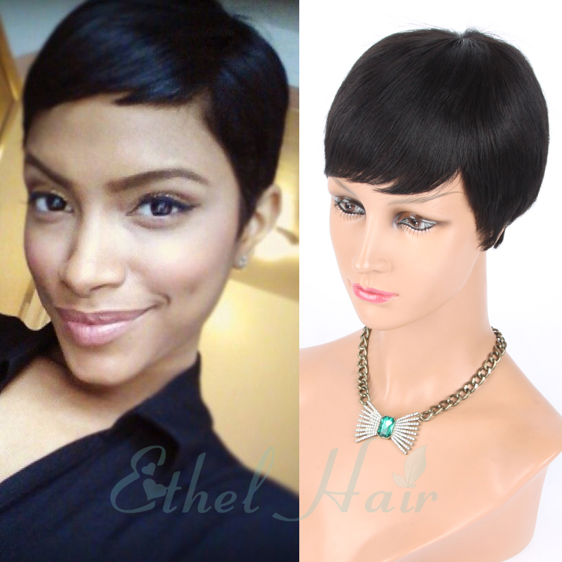 2016 New Pixie Cut cheap Human Hair Wig Rihanna Black Short Cut Wigs For  Black Women African American Celebrity Wigs Hot Sale ee32bcfd054f