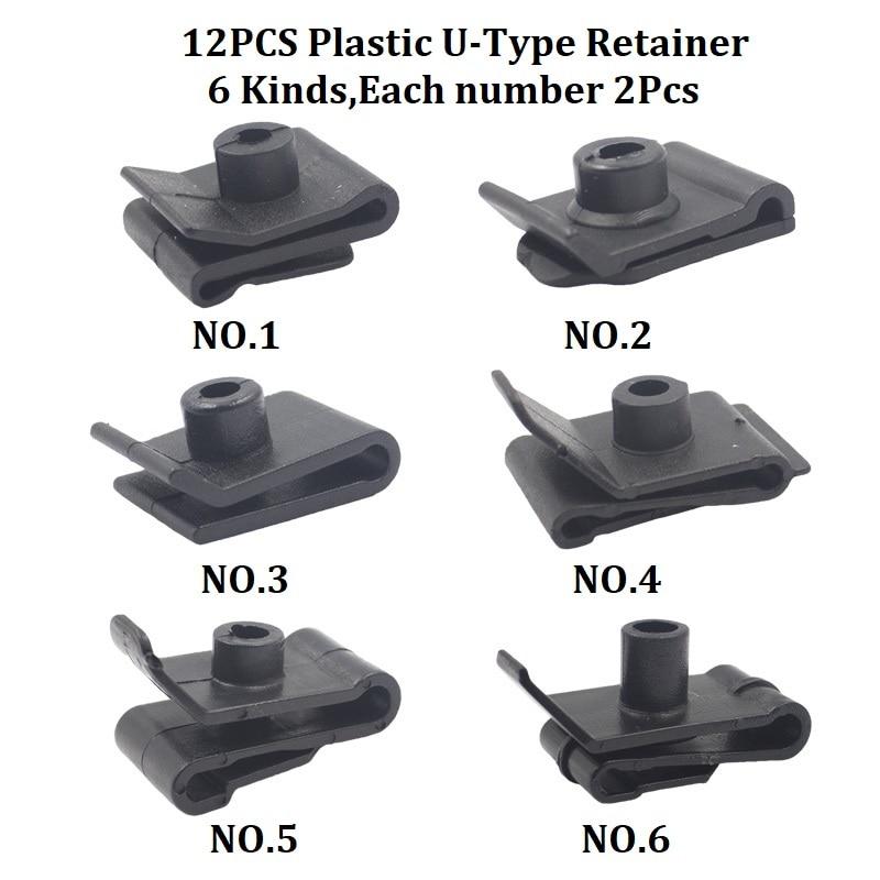 Смешанный авто бампер колеса брови крыло пластиковый крепеж винт заклепки для всех автомобилей Клип Набор - Название цвета: A3-12Pcs U-Type