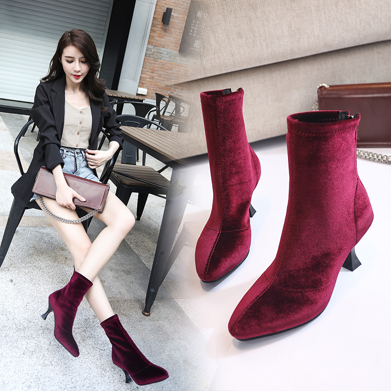 Kjstyrka Black Red Wine 2019 Women Boots Stretch Fabrics Mid Calf Spring Autumn Shoes High Heels Pointed Toe Ladies Sock Boots