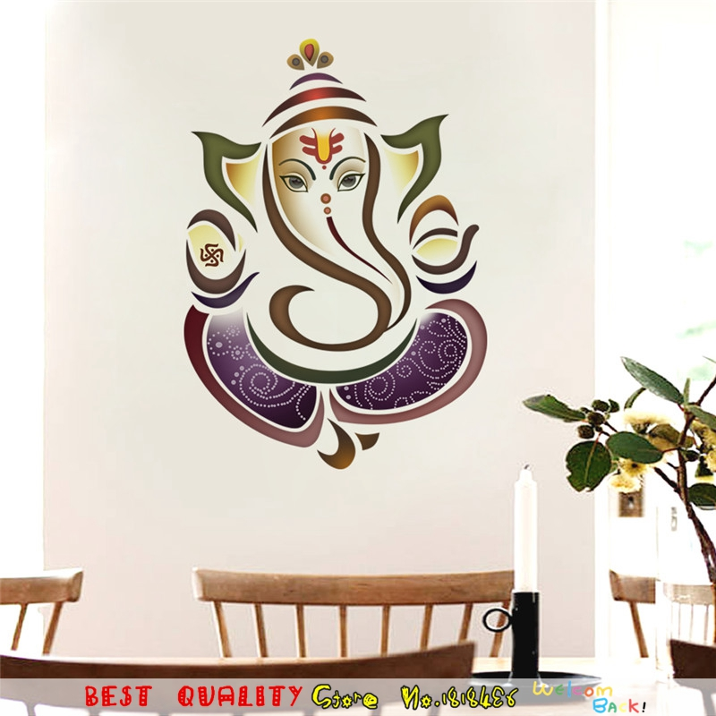 Thailand Thai Elephant Ganesha Wall Sticker Totem Home Decal Wall Decor For Living Room Bedroom