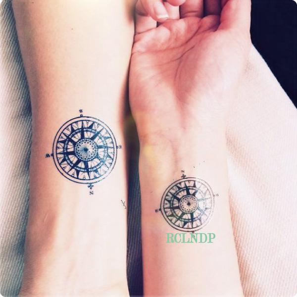 Wasserdicht Temporare Tatowierung Aufkleber Kompass Tatto Auf