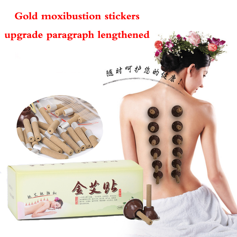 50pcs/Set moxibustion tube paste self-stick Mini Moxa candle Self-adhesive acupuncture points massage sticker moxa stick eye and facial massage 7mm diameter copper moxibustion rod beauty spa with 10 pcs moxa stick acupuncture map