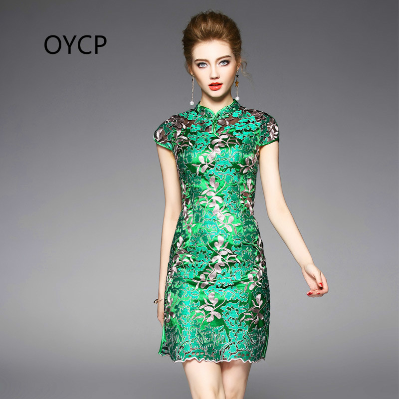 7d4b28cdcdc82 OYCP Summer High End Women s Clothing Embroidery Mandarin Collar Slim Short  Sleeve Cheongsam Green Dresses Chinese Style Dress-in Dresses from Women s  ...