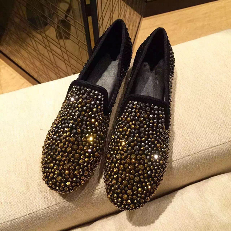 YUE JABON Women Flat Shoes Gold Rhinestone Slip On Flats Ladies Loafers Real Leather Casual Fashion Female Large Size Footwear