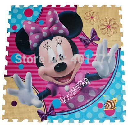 Hot Selling 9pcs Pink Minnie Mouse Head Crawling Rug Foam Puzzle Mat