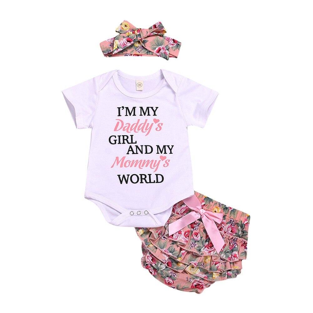 0-24 M Neugeborenen Baby Mädchen Brief Print Romper + Hosen Kleid + Stirnband Outfits Kleidung Set Blume Bowknot Baby Kleidung