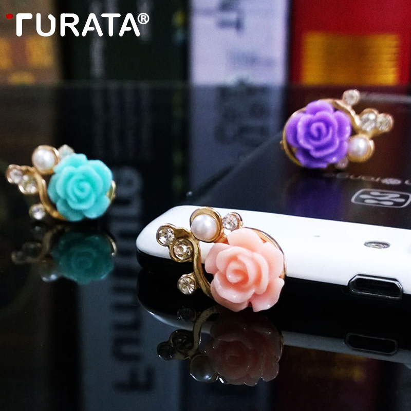 TURATA Universal Rose Flower Anti Dust Plug For 3.5mm Mobile Phone Accessories Headphone 3D Crystal Bead Pear For iPhone 5 5s 6
