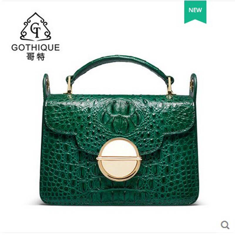gete 2018 new Thai crocodile leather bag for leather crocodile leather shoulder bag, fashion and leisure package women handbag 2016 fashion spring and summer crocodile pattern japanned leather patent leather handbag one shoulder cross body bag for women