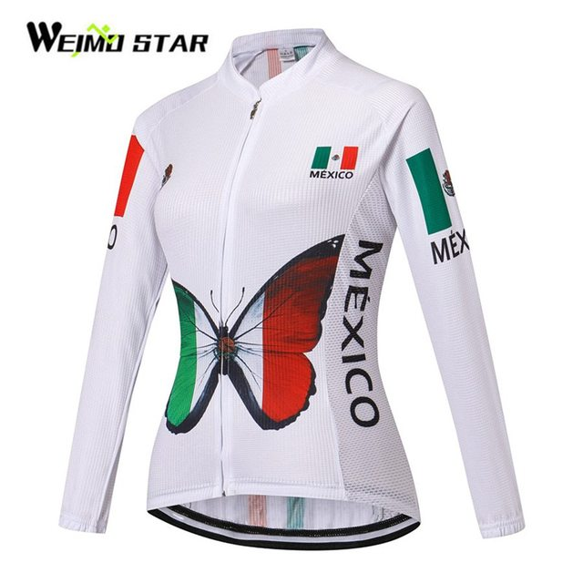 ... Mexico Cycling Jersey Long Sleeve Weimostar Women Clothing Wear Outdoor  Breathable Ropa Ciclismo Tops S-  France Team ... 10ad9a874